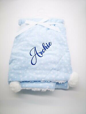 Personalised Luxury Baby POM POM  Blanket Embroidered Boy Girl Gift new 2020