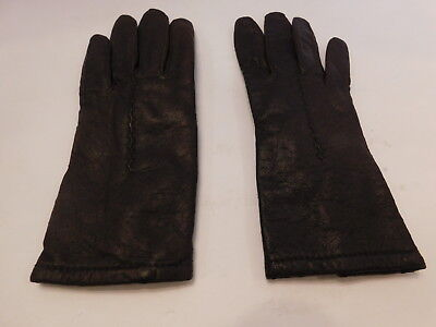 *Grandoe Ladies Brown Leather Winter Gloves Acrylic Knit  Lining  Size Small