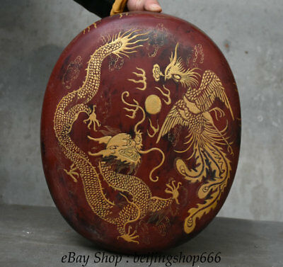"13"" Old Chinese lacquerware Wood Carved Dragon Phoenix storage Jewelry box"