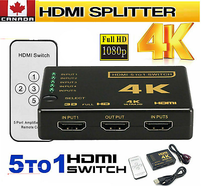 5 Port 4K Video HDMI Switch Switcher Splitter For HDTV PS3 DVD with IR Remote