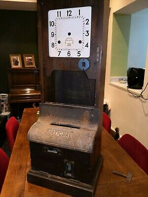 Antique National time recorder clocking in clock