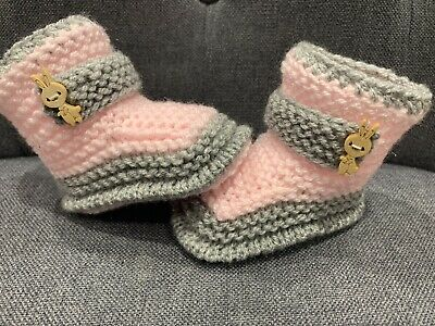 Hand knitted Romany Bling baby Girl  booties 0-3months
