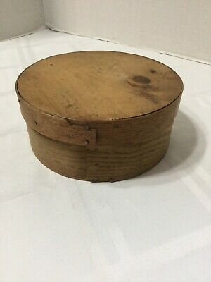 "Antique Primitive Bent Wood Round Cheese Pantry Box 6"" Choice"