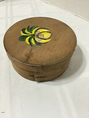 """Antique Primitive Bent Wood Round Cheese Pantry Box 6"""" Hand painted Lid"""