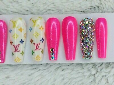 Louis Vuitton neon pink crystal bling press on nails luxury diamond long nails