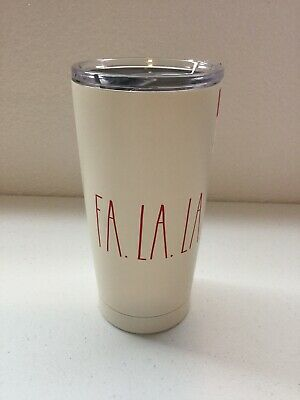 Rae Dunn. Fa La La Stainless Steel Mug. Color Off White With Red