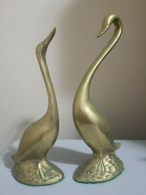 """Vintage Solid Brass Geese Birds Figurines Set of 2, 8-1/2"""" tall"""
