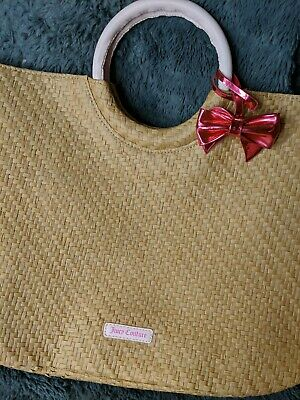 Juicy Couture Large Tan Straw Tote Bag Pink Bow Bag Charm New