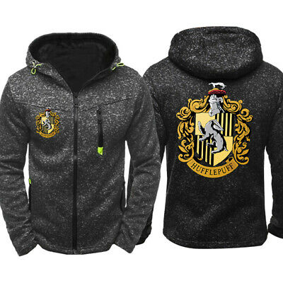Hufflepuff Harry Potter Mens Thin Hoodie Zipper Coat Jacket pocket Sweatshirt #