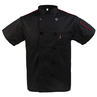 Unisex Chef Apparel Chefs Jacket Short Sleeve Restaurant Kitchen Uniform Black