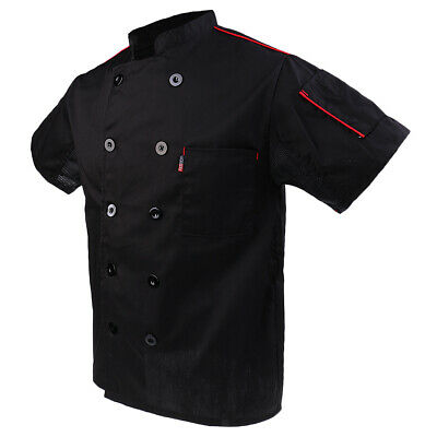 Men Women Five Star Short Sleeve Chef Jacket Chefs Coat Catering Uniform Black