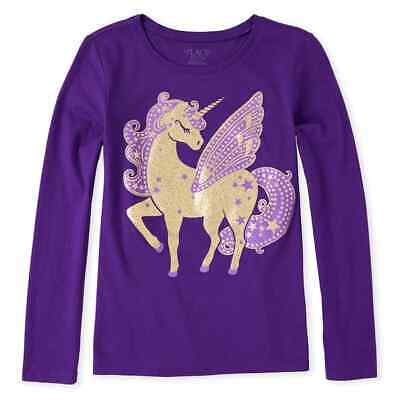 NWT The Childrens Place Glitter Unicorn Girls Purple Long Sleeve Shirt 5-6 7-8