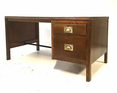 Vintage Industrial Mid 20th Century Solid Rustic Oak Single Pedestal 5ft Desk