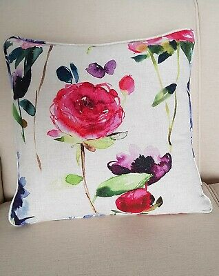 """18"""" Piped Cushion in bluebellgray Red Rose Fabric With Feather Pad Filling"""