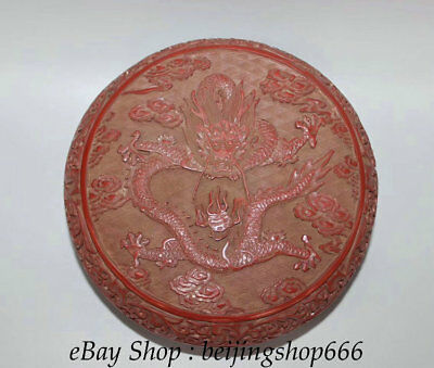 19CM Ancient China red Lacquerware Dynasty Dragon jewelry Jewellery Box Case
