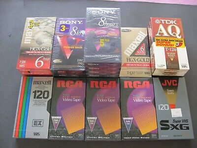 Lot 20 New Sealed Blank VHS Tape JVC,RCA,MAXELL,SONY,TDK