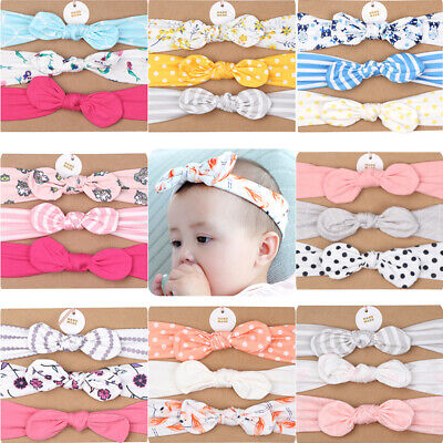 3PCS Baby Hair Band Set Bow Head Decor Headband for Kids Girls Under 2 Years Old