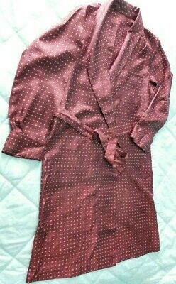 Vintage Tricel men's dark Red blue black dressing gown smoking jacket XL 46in