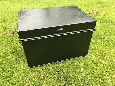 Large Vintage Metal Deed Box Storage Tin Chest complete with key