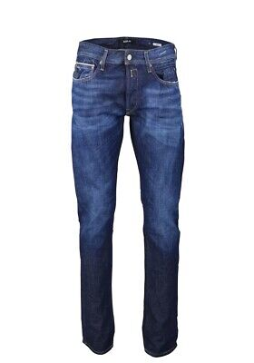 REPLAY ANBASS JEANS SLIM w31-w32 l34 Uomo Destroyed Denim Stretch Pantaloni Blue