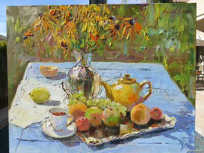 Still Life Fruits Oil Canvas Impressionism Painting Russian Signed Listed Artist