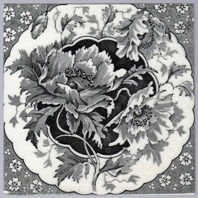 T & R Boote c1906 - Black Poppies - Antique Victorian Aesthetic Tile