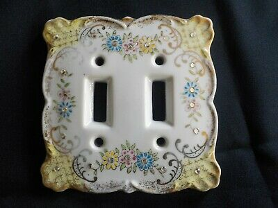 Vintage Lefton Porcelain Dual Light Switch Cover, Floral