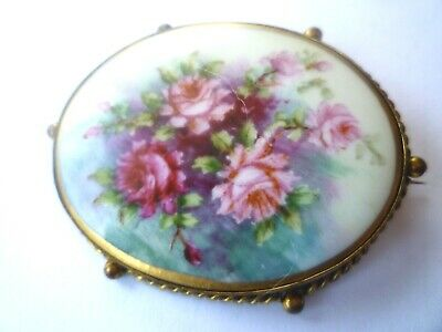 Exquisite Antique Victorian Hand Painted Flowers Roses Gilt Porcelain Brooch