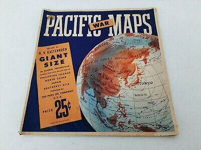 "1944 Pacific War Map Giant Size By Pure Oil Co. 50"" x 39"" Shelf 2"
