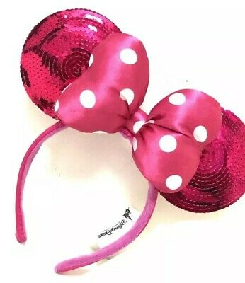 New Disney Parks Minnie Mouse Pink Bow Polka Dot Sequin Ears Headband WO/ Tags