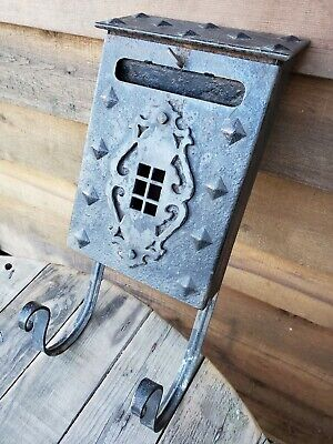 Vintage Black Iron Mailbox Wall Mount with Paper Holder
