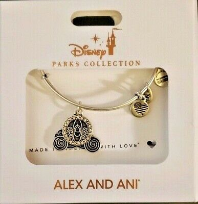 Disney Parks Alex and Ani Cinderella Carriage Charm Bracelet Silver New