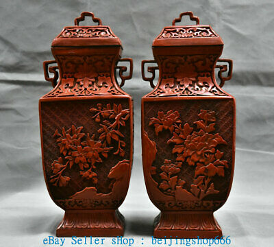 """13"""" Qianlong Marked Old China Red Lacquerware Dynasty Flower Bottle Vase Pair"""