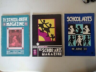 """Vintage  Lot of 3 """"School Arts"""" Magazines 1922 to 1935 Arts & Crafts Style"""