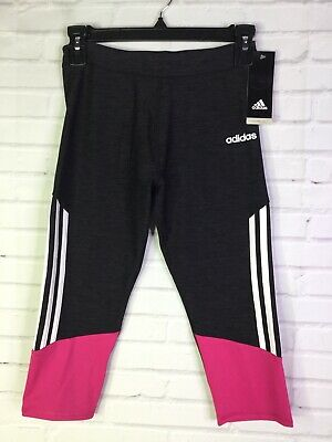 adidas Big Girls Size M 10-12 Capri Leggings 3 Stripe Black Pink Stretch Ak4564