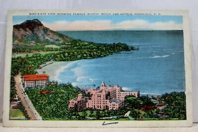 Hawaii Hi Honolulu Waikiki Beach Hotels Postcard Old Vintage