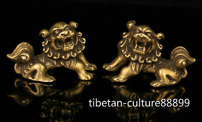 A Pair China Collectible Hand-carved Retro Brass Pi Xiu Statue