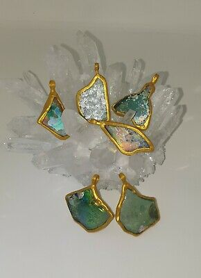 6 Beautiful Ancient Roman Glass Pendants gold plated About 2000 Years Old