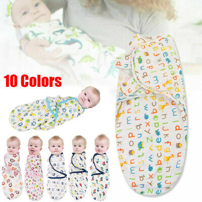 Pure Cotton NewBorn Baby Swaddle Blanket Wrap Sleeping Bag For 0-6months UK