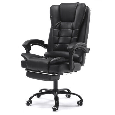 Executive Computer Office Chair 135° Recliner Swivel Footrest Leather High Back