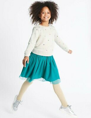 BNWT Girls M&S 2 Piece Star Sweat Top & Skirt Outfit Age 6-7 Years (Teal Mix)