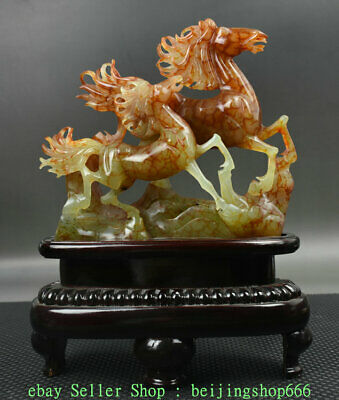 "12"" Chinese Natural Xiu Green Jade Jadeite Carved Zodiac Year Horse Sculpture"