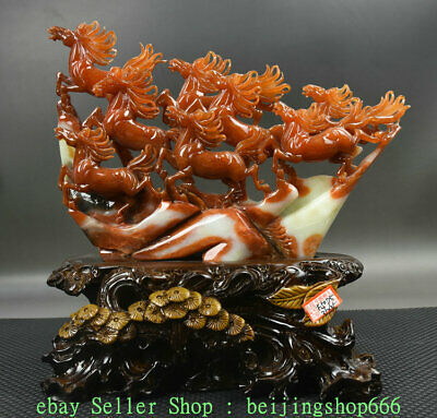 "12"" Chinese Natural Xiu Jade Jadeite Carved Zodiac Year 8 Horse Horses Statue"