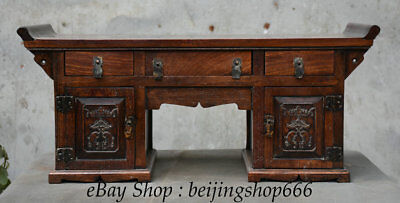 """22"""" Old Chinese Huali Pear Wood Dynasty 3 Drawer Table Desk Antique Furniture"""