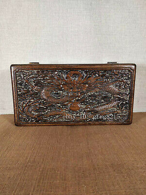 """12"""" Chinese antiques Flower Lei Muk Hand-carved Dragon pattern box"""
