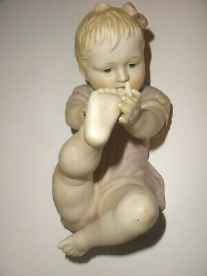 Antique Gebruder Heubach ? Piano Baby Large girl back playing with toes bisque