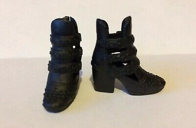 Genuine Barbie Accessories - Black Ankle Boots / Shoes, New From Pack
