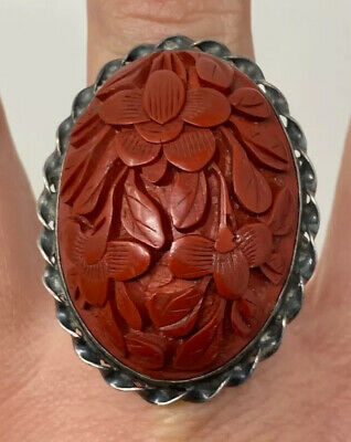 Antique Art Nouveau Chinese Export Sterling Silver Carved Cinnabar Floral Ring