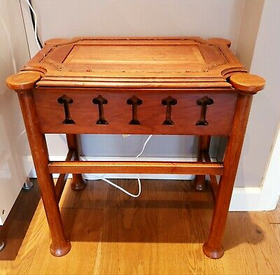 Arts & Crafts Piano Stool with Tulip Pierced Frieze on Turned Supports