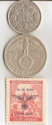 "*Two *german SILVER(.900%,.625%)  coins-+WW2 - Stamp + *king ""Tut"" coin"